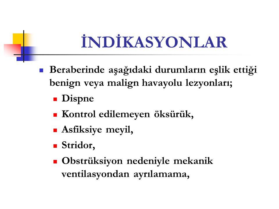 İNDİKASYONLAR Beraberinde aşağıdaki durumların eşlik ettiği benign veya malign havayolu lezyonları;