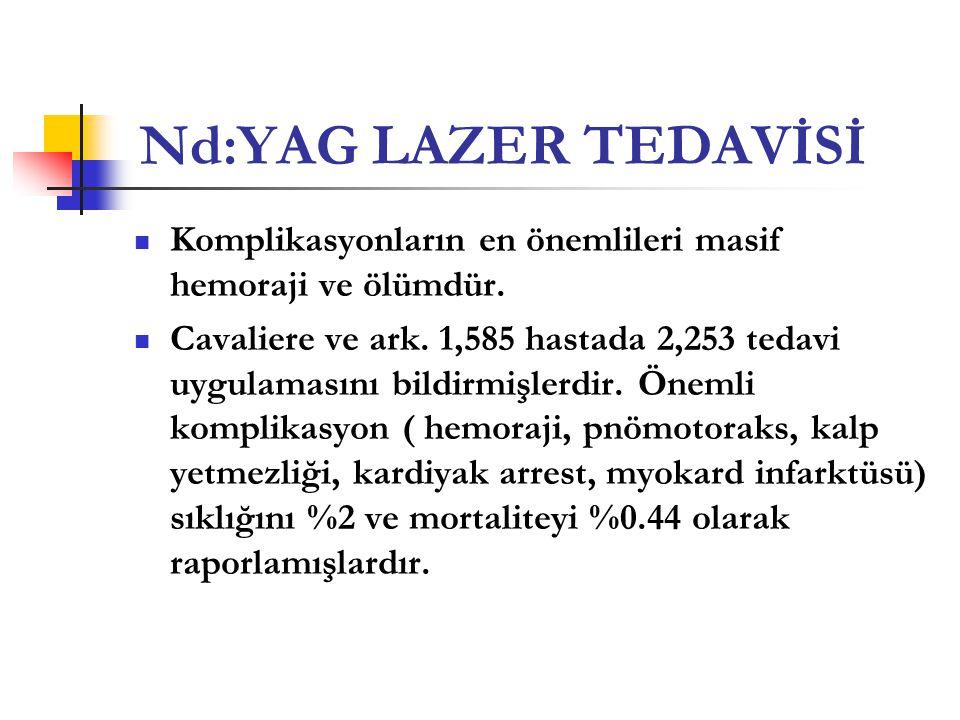 Nd:YAG LAZER TEDAVİSİ Komplikasyonların en önemlileri masif hemoraji ve ölümdür.