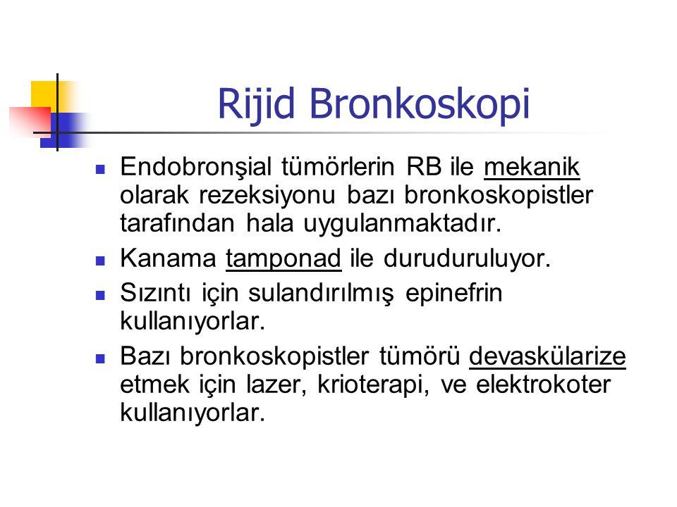 Rijid Bronkoskopi Endobronşial tümörlerin RB ile mekanik olarak rezeksiyonu bazı bronkoskopistler tarafından hala uygulanmaktadır.