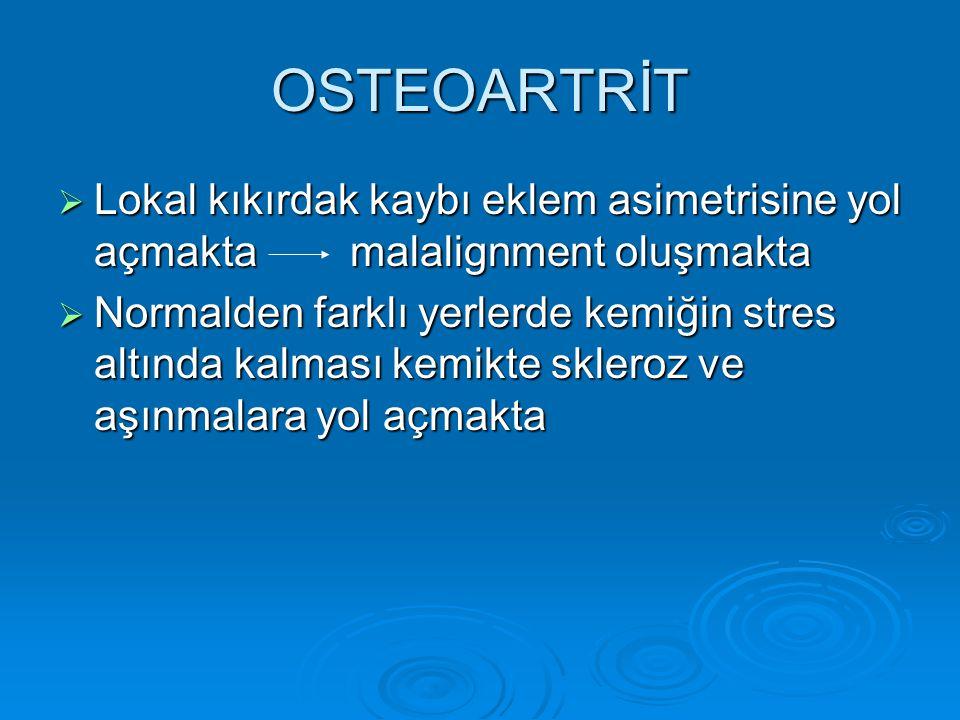 OSTEOARTRİT Lokal kıkırdak kaybı eklem asimetrisine yol açmakta malalignment oluşmakta.