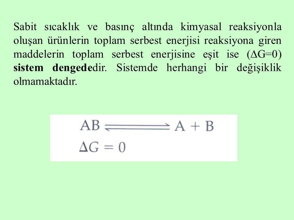 Sabit sıcaklık ve basınç altında kimyasal reaksiyonla oluşan ürünlerin toplam serbest enerjisi reaksiyona giren maddelerin toplam serbest enerjisine eşit ise (G=0) sistem dengededir.