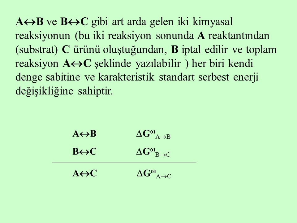AB ve BC gibi art arda gelen iki kimyasal reaksiyonun (bu iki reaksiyon sonunda A reaktantından (substrat) C ürünü oluştuğundan, B iptal edilir ve toplam reaksiyon AC şeklinde yazılabilir ) her biri kendi denge sabitine ve karakteristik standart serbest enerji değişikliğine sahiptir.