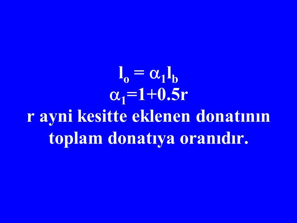 lo = 1lb 1=1+0.5r r ayni kesitte eklenen donatının toplam donatıya oranıdır.