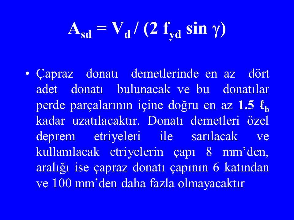 Asd = Vd / (2 fyd sin )