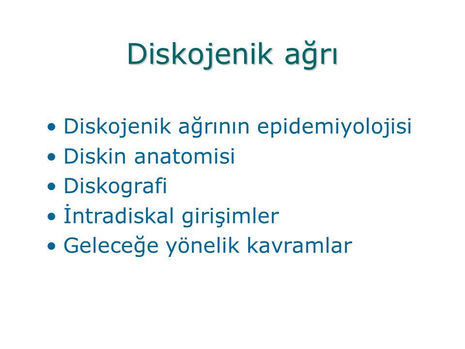 Diskojenik ağrı Diskojenik ağrının epidemiyolojisi Diskin anatomisi