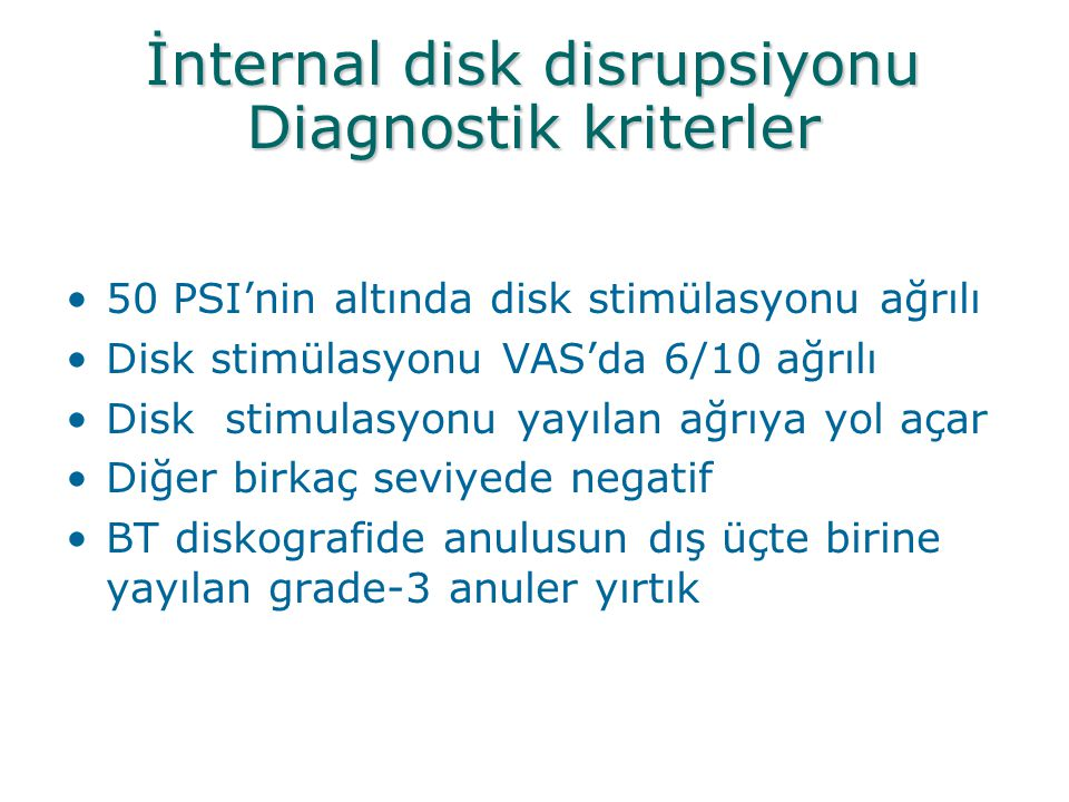 İnternal disk disrupsiyonu Diagnostik kriterler