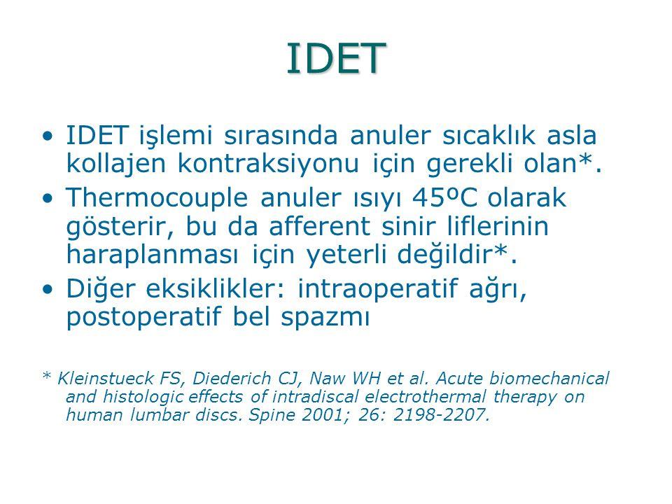 IDET IDET işlemi sırasında anuler sıcaklık asla kollajen kontraksiyonu için gerekli olan*.