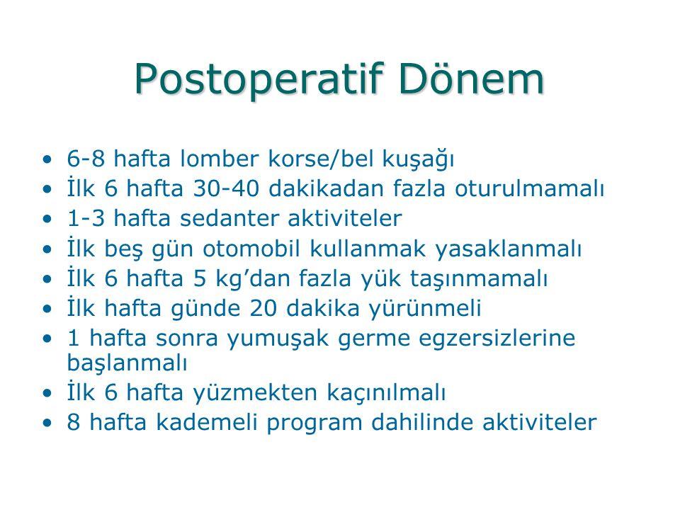 Postoperatif Dönem 6-8 hafta lomber korse/bel kuşağı