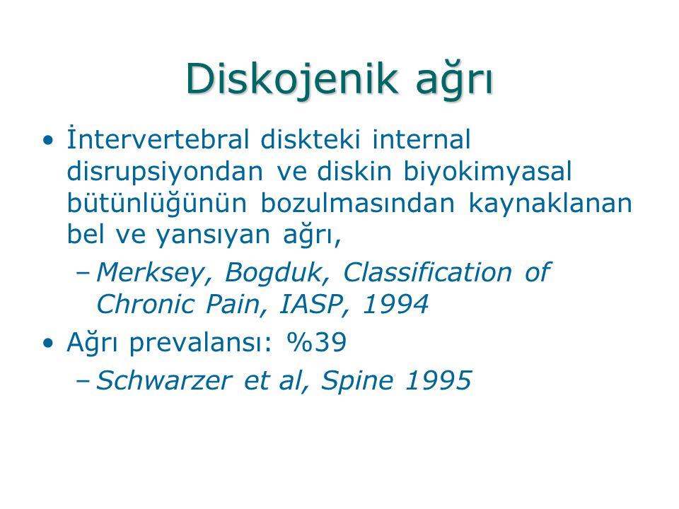 Diskojenik ağrı İntervertebral diskteki internal disrupsiyondan ve diskin biyokimyasal bütünlüğünün bozulmasından kaynaklanan bel ve yansıyan ağrı,