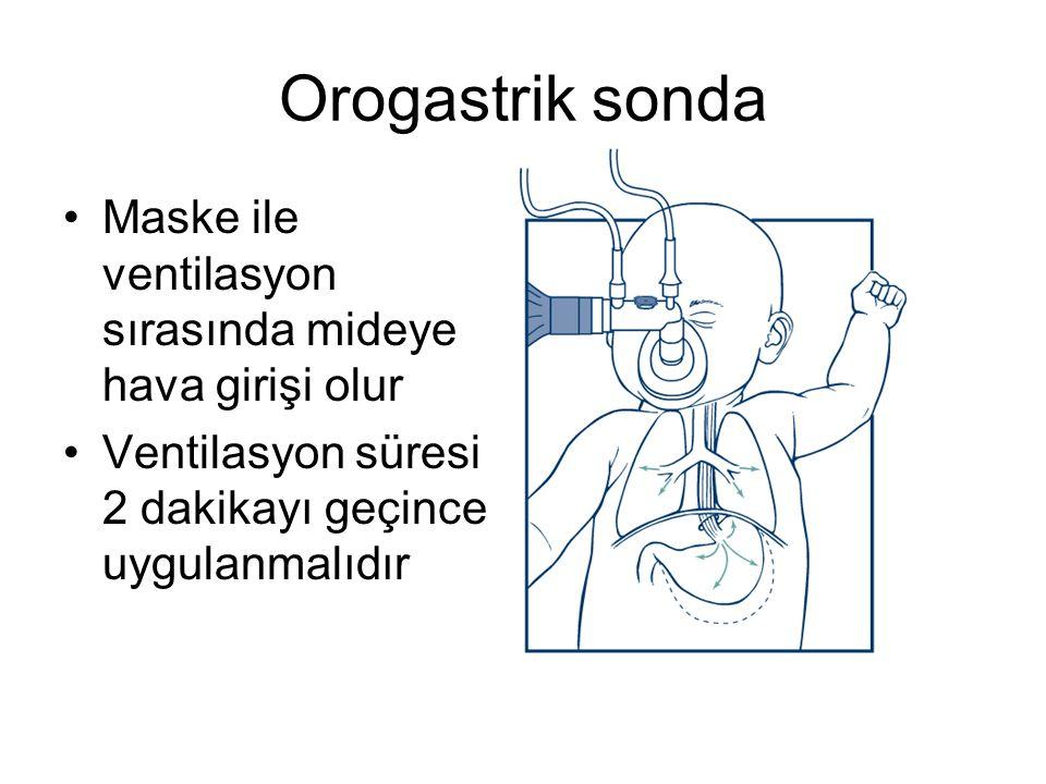 Orogastrik sonda Maske ile ventilasyon sırasında mideye hava girişi olur. Ventilasyon süresi 2 dakikayı geçince uygulanmalıdır.