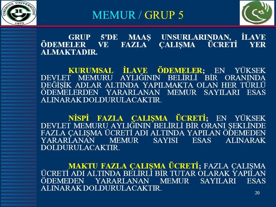 MEMUR / GRUP 5 GRUP 5'DE MAAŞ UNSURLARINDAN, İLAVE ÖDEMELER VE FAZLA ÇALIŞMA ÜCRETİ YER ALMAKTADIR.