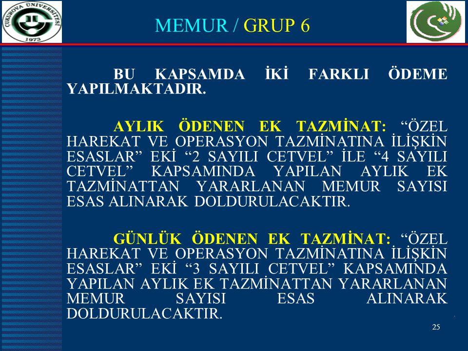 MEMUR / GRUP 6 BU KAPSAMDA İKİ FARKLI ÖDEME YAPILMAKTADIR.