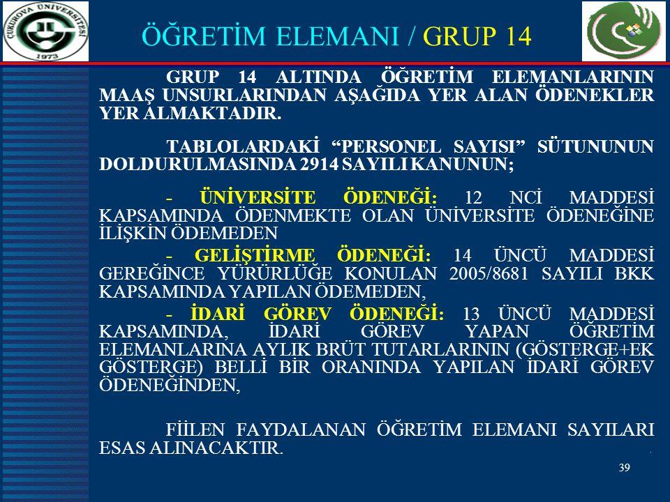 ÖĞRETİM ELEMANI / GRUP 14 GRUP 14 ALTINDA ÖĞRETİM ELEMANLARININ MAAŞ UNSURLARINDAN AŞAĞIDA YER ALAN ÖDENEKLER YER ALMAKTADIR.