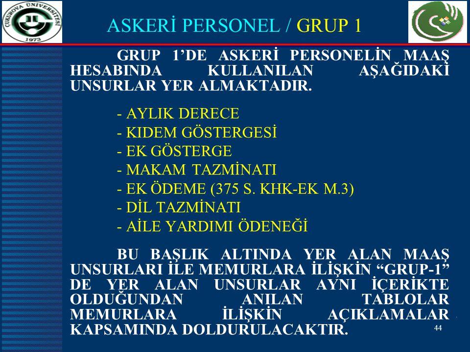 ASKERİ PERSONEL / GRUP 1 GRUP 1'DE ASKERİ PERSONELİN MAAŞ HESABINDA KULLANILAN AŞAĞIDAKİ UNSURLAR YER ALMAKTADIR.