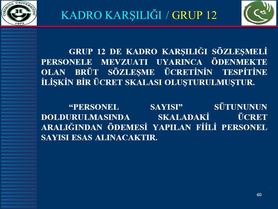 KADRO KARŞILIĞI / GRUP 12