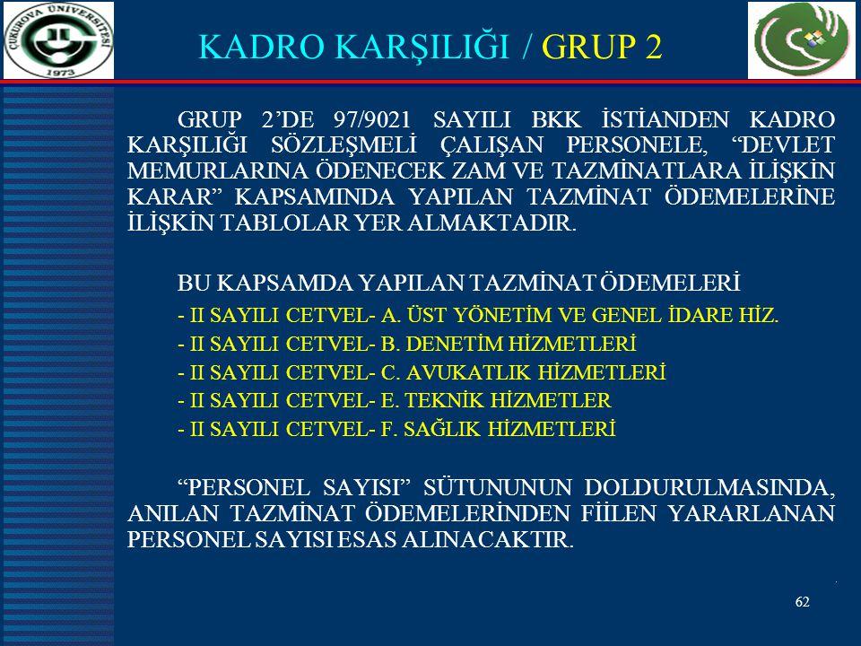 KADRO KARŞILIĞI / GRUP 2
