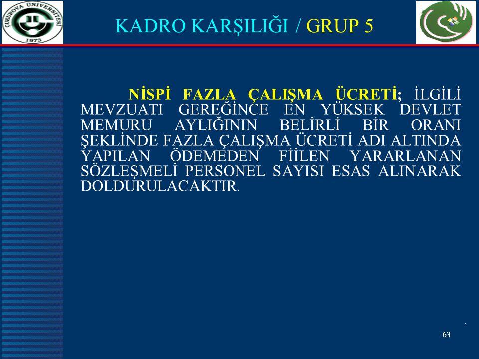 KADRO KARŞILIĞI / GRUP 5
