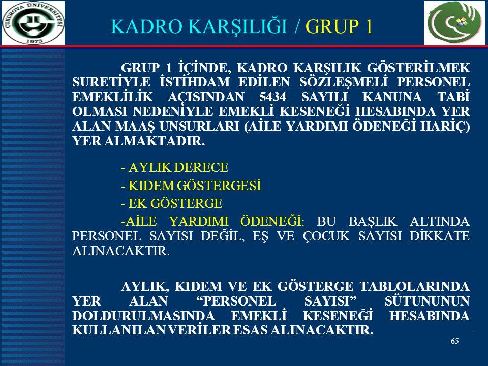 KADRO KARŞILIĞI / GRUP 1
