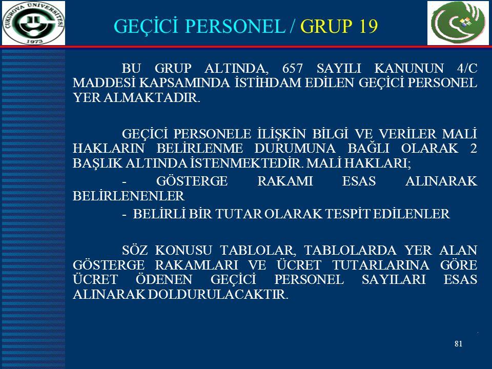 GEÇİCİ PERSONEL / GRUP 19 BU GRUP ALTINDA, 657 SAYILI KANUNUN 4/C MADDESİ KAPSAMINDA İSTİHDAM EDİLEN GEÇİCİ PERSONEL YER ALMAKTADIR.