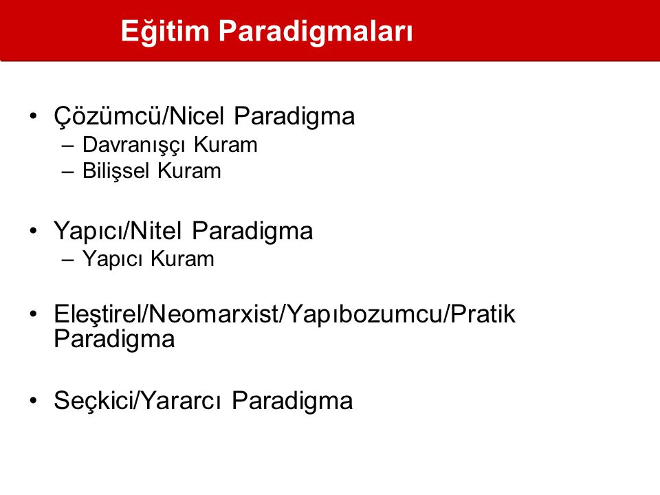 Eğitim Paradigmaları Çözümcü/Nicel Paradigma Yapıcı/Nitel Paradigma