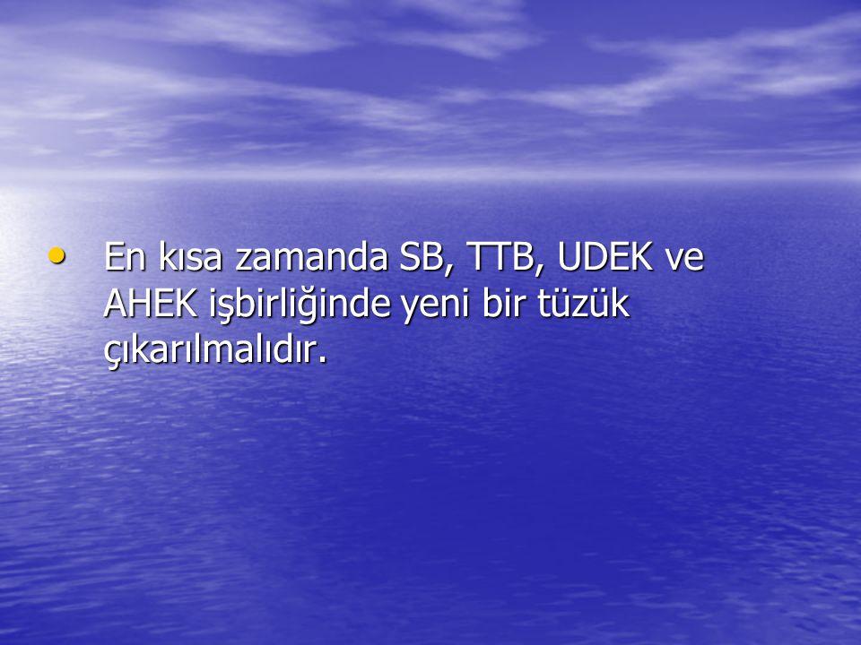 En kısa zamanda SB, TTB, UDEK ve AHEK işbirliğinde yeni bir tüzük çıkarılmalıdır.