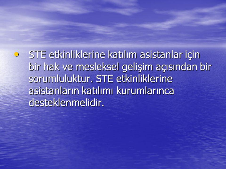 STE etkinliklerine katılım asistanlar için bir hak ve mesleksel gelişim açısından bir sorumluluktur.