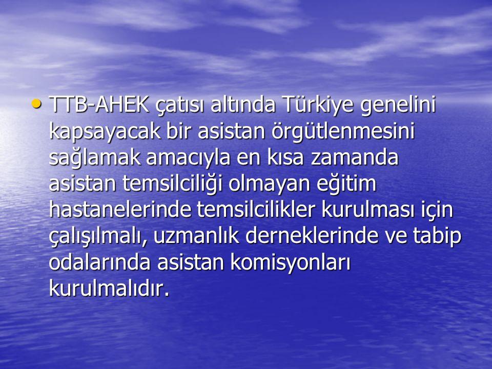 TTB-AHEK çatısı altında Türkiye genelini kapsayacak bir asistan örgütlenmesini sağlamak amacıyla en kısa zamanda asistan temsilciliği olmayan eğitim hastanelerinde temsilcilikler kurulması için çalışılmalı, uzmanlık derneklerinde ve tabip odalarında asistan komisyonları kurulmalıdır.