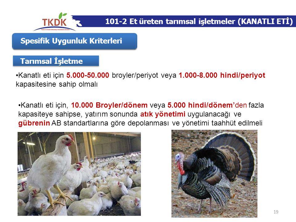 101-2 Et üreten tarımsal işletmeler (KANATLI ETİ)