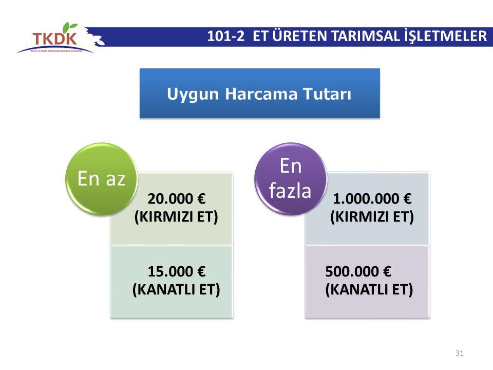 101-2 ET ÜRETEN TARIMSAL İŞLETMELER