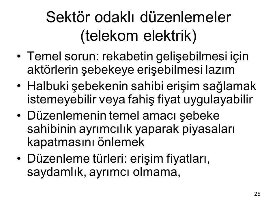 Sektör odaklı düzenlemeler (telekom elektrik)