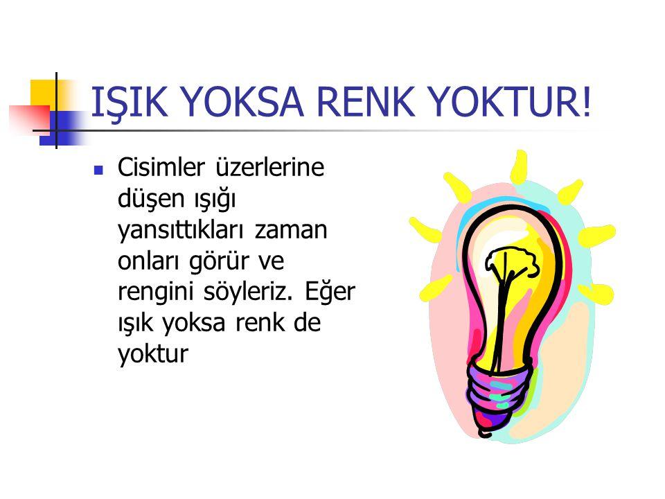 IŞIK YOKSA RENK YOKTUR.