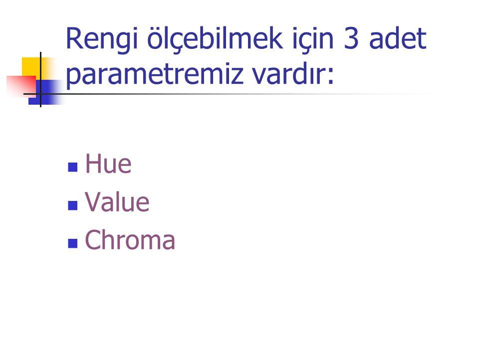 Rengi ölçebilmek için 3 adet parametremiz vardır: