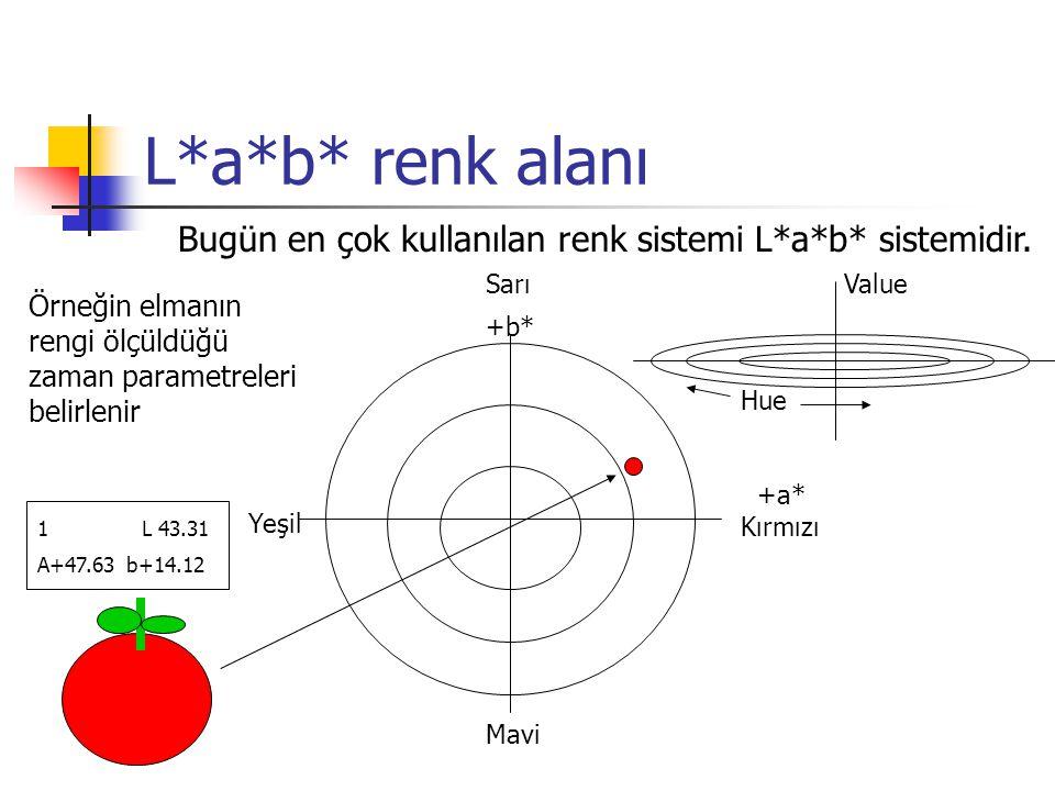 L*a*b* renk alanı Bugün en çok kullanılan renk sistemi L*a*b* sistemidir. Sarı Value.