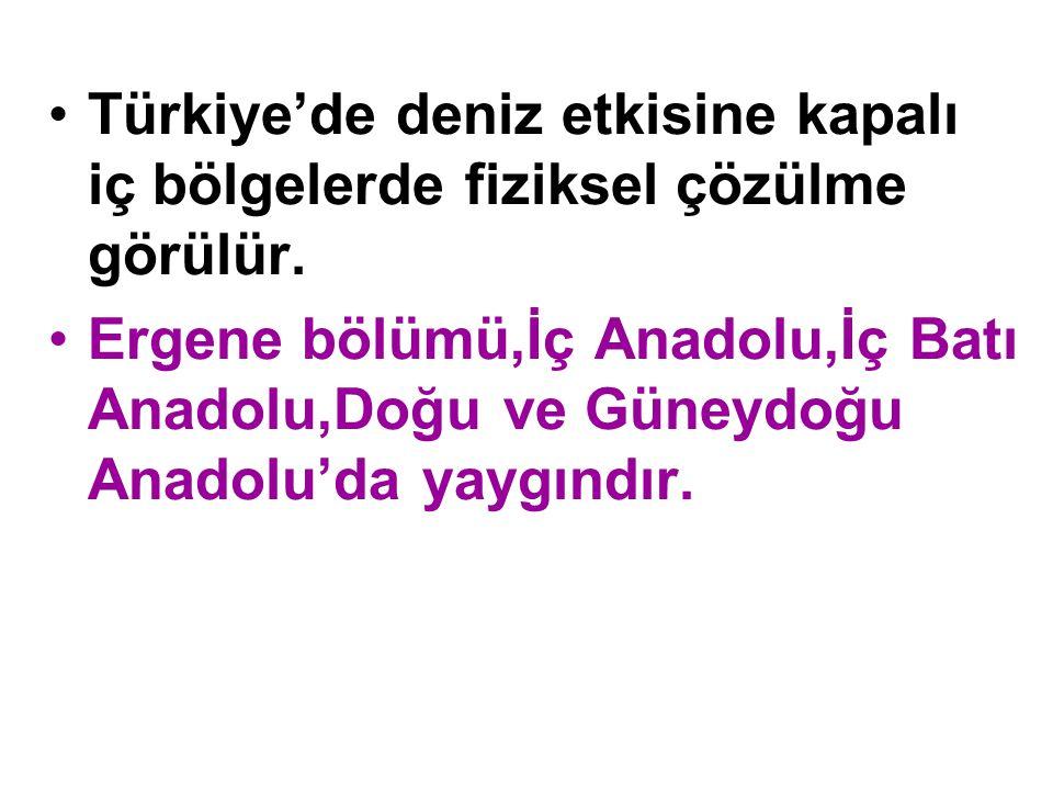 Türkiye'de deniz etkisine kapalı iç bölgelerde fiziksel çözülme görülür.