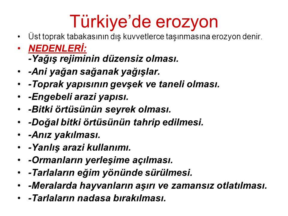 Türkiye'de erozyon NEDENLERİ: -Yağış rejiminin düzensiz olması.