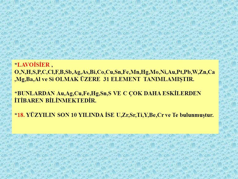 *LAVOİSİER , O,N,H,S,P,C,Cl,F,B,Sb,Ag,As,Bi,Co,Cu,Sn,Fe,Mn,Hg,Mo,Ni,Au,Pt,Pb,W,Zn,Ca,Mg,Ba,Al ve Si OLMAK ÜZERE 31 ELEMENT TANIMLAMIŞTIR.