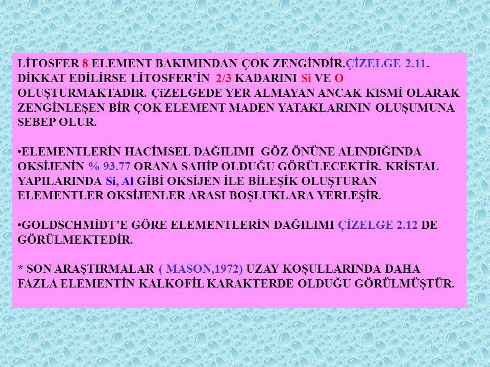 LİTOSFER 8 ELEMENT BAKIMINDAN ÇOK ZENGİNDİR. ÇİZELGE 2. 11
