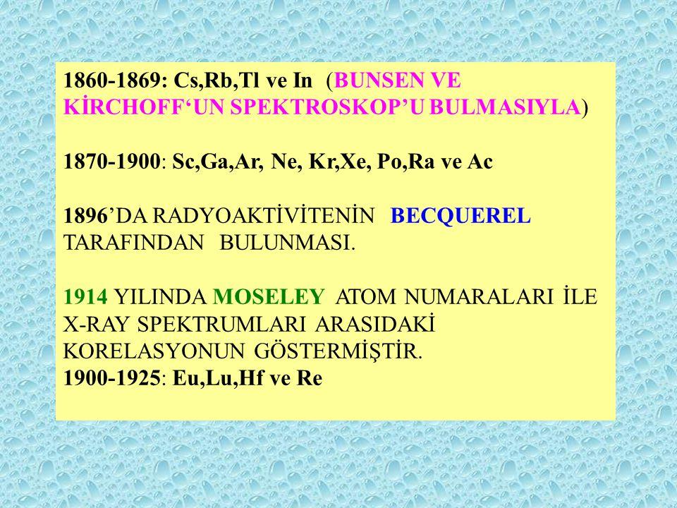 1860-1869: Cs,Rb,Tl ve In (BUNSEN VE KİRCHOFF'UN SPEKTROSKOP'U BULMASIYLA)