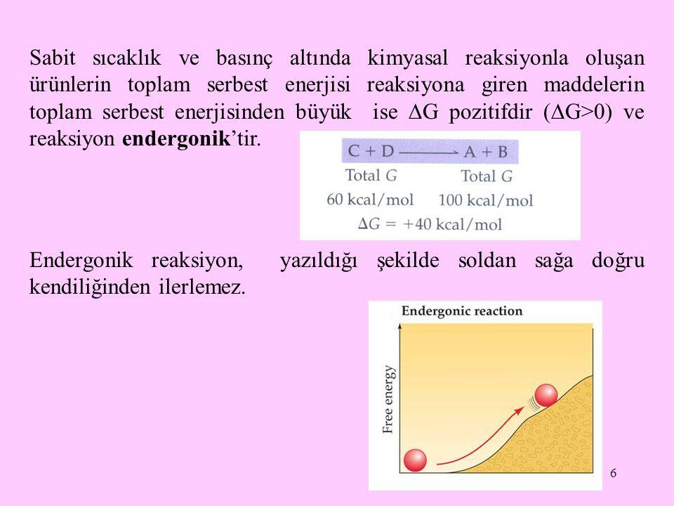 Sabit sıcaklık ve basınç altında kimyasal reaksiyonla oluşan ürünlerin toplam serbest enerjisi reaksiyona giren maddelerin toplam serbest enerjisinden büyük ise G pozitifdir (G>0) ve reaksiyon endergonik'tir.