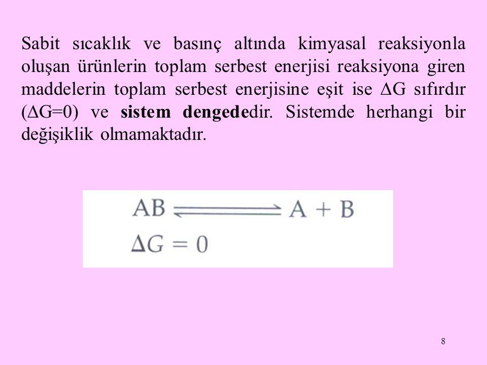 Sabit sıcaklık ve basınç altında kimyasal reaksiyonla oluşan ürünlerin toplam serbest enerjisi reaksiyona giren maddelerin toplam serbest enerjisine eşit ise G sıfırdır (G=0) ve sistem dengededir.