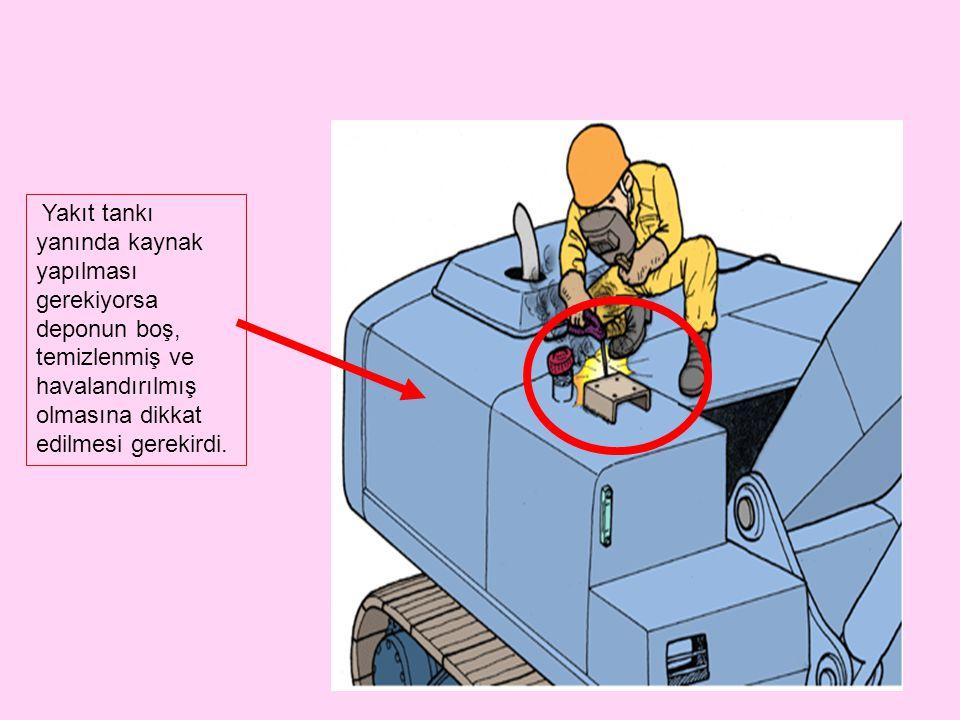 Yakıt tankı yanında kaynak yapılması gerekiyorsa deponun boş, temizlenmiş ve havalandırılmış olmasına dikkat edilmesi gerekirdi.