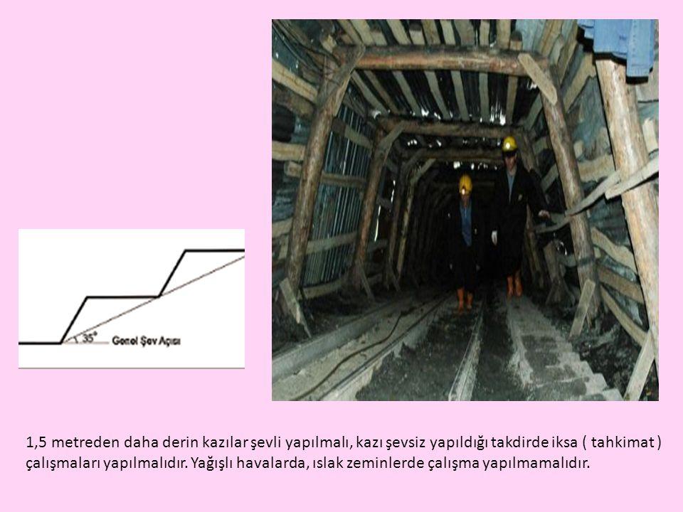 1,5 metreden daha derin kazılar şevli yapılmalı, kazı şevsiz yapıldığı takdirde iksa ( tahkimat ) çalışmaları yapılmalıdır.
