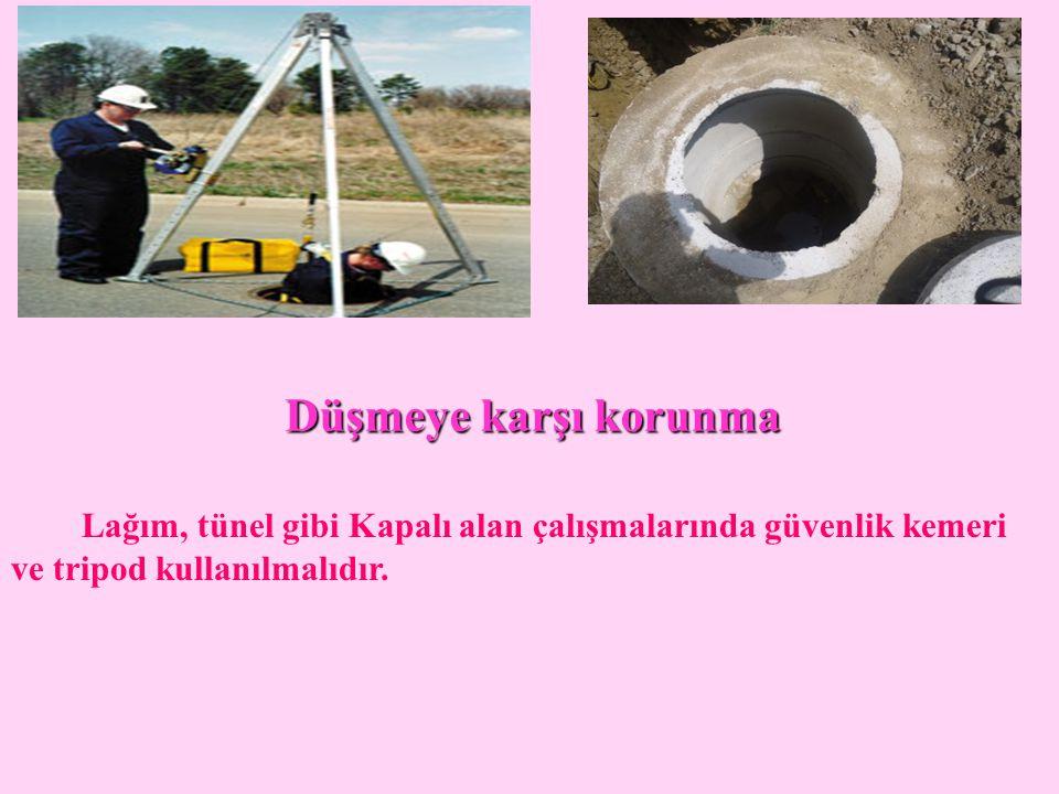 Düşmeye karşı korunma Lağım, tünel gibi Kapalı alan çalışmalarında güvenlik kemeri ve tripod kullanılmalıdır.