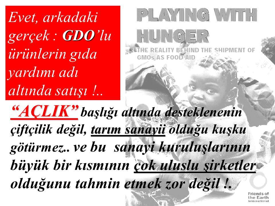 Evet, arkadaki gerçek : GDO'lu ürünlerin gıda yardımı adı altında satışı !..