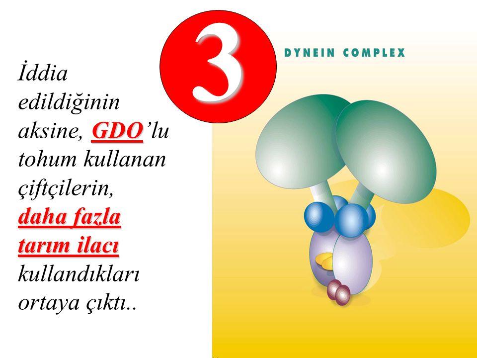 3 İddia edildiğinin aksine, GDO'lu tohum kullanan çiftçilerin, daha fazla tarım ilacı kullandıkları ortaya çıktı..