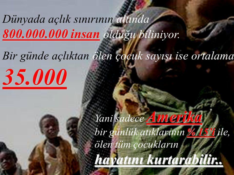 Dünyada açlık sınırının altında 800.000.000 insan olduğu biliniyor.