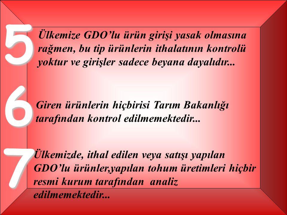 567 Ülkemize GDO'lu ürün girişi yasak olmasına rağmen, bu tip ürünlerin ithalatının kontrolü yoktur ve girişler sadece beyana dayalıdır...