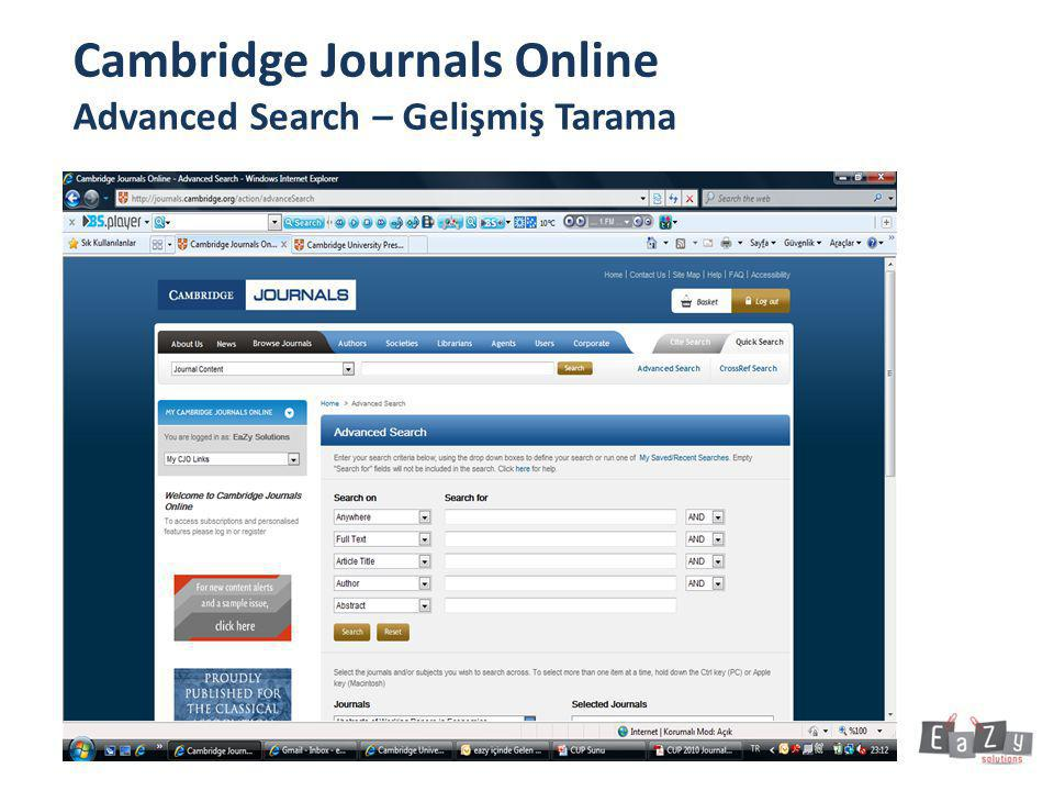 Cambridge Journals Online Advanced Search