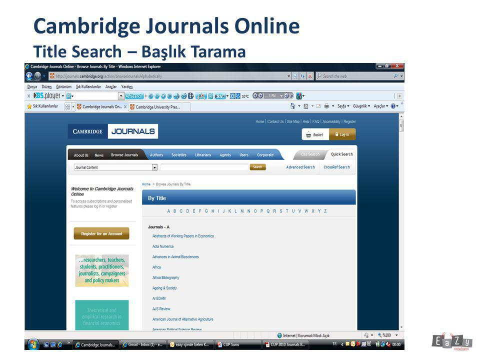 Cambridge Journals Online Title Search – Başlık Tarama