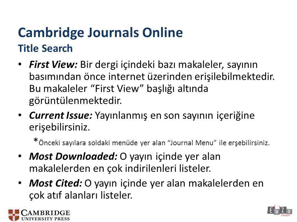 Cambridge Journals Online Title Search